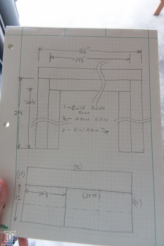 plans for a diy console table on paper