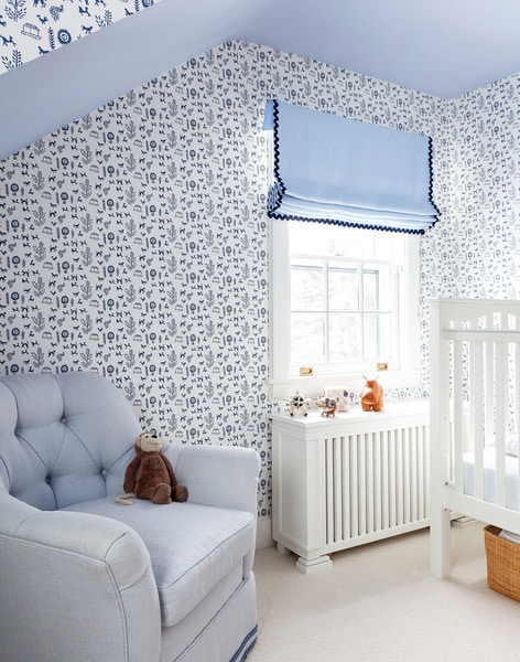 blue and white wallpaper great ideas for boy nursery