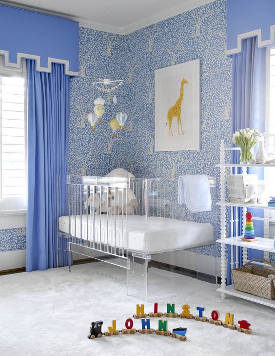 baby boy nursery ideas- love the blue and white wallpaper and lucite crib by amy berry designs