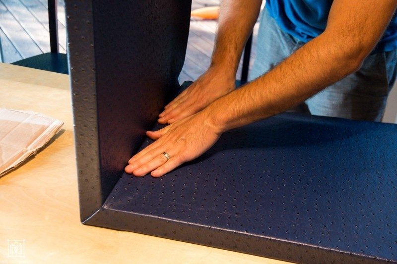 securing the fabric to the bottom of a plywood do it yourself console table