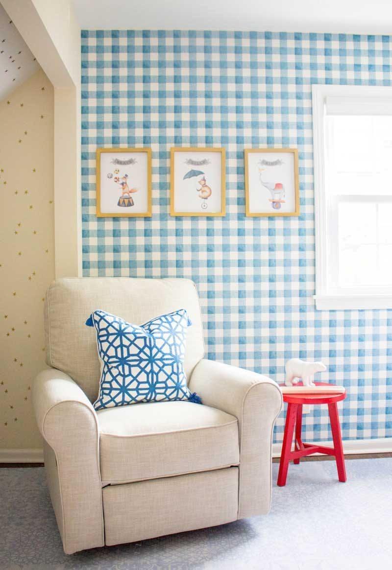 blue gingham wallpaper in baby boy nursery- great nursery design ideas from Addie Gundry
