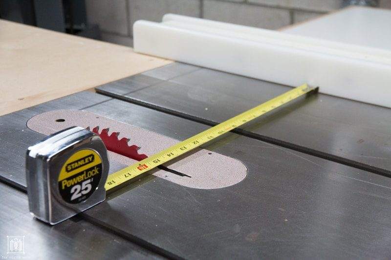 table saw with measuring tape