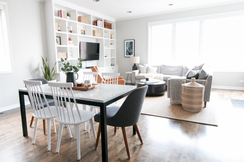 benjamin moore gray owl living room by DIY Playbook