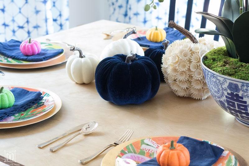 colorful pumpkin tablescape