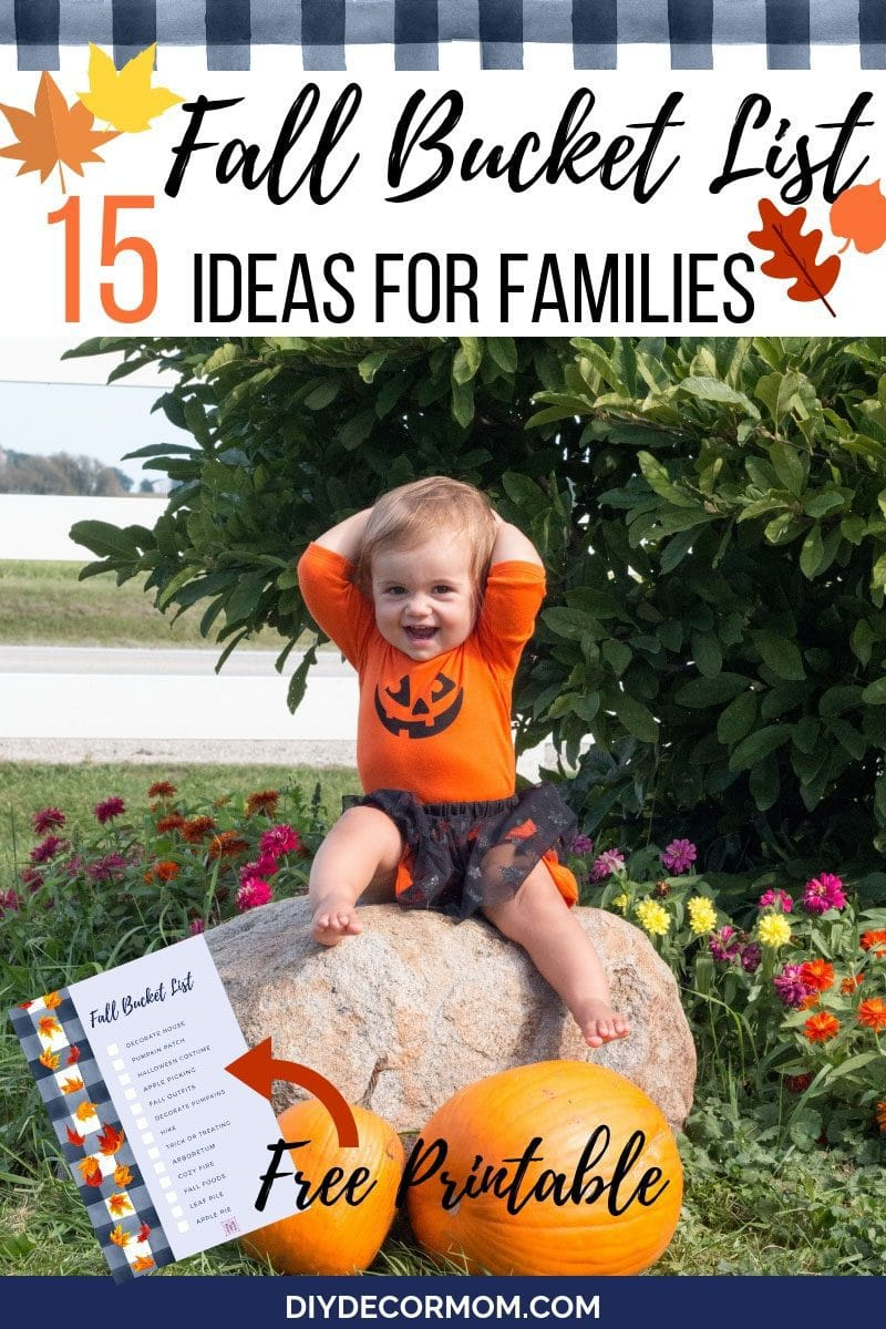baby sitting on top of pumpkin with fall bucket list printable checklist