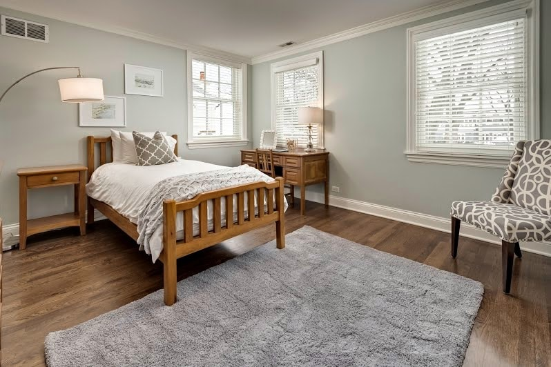 gray owl by benjamin moore bedroom by Home by Keki