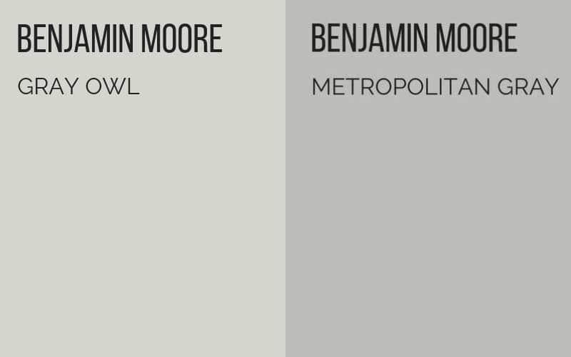 Benjamin Moore Gray Owl vs. Benjamin Moore Metropolitan Gray