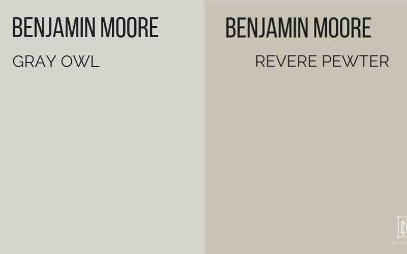 Benjamin Moore Gray Owl vs Revere Pewter- best greige paint colors for your home