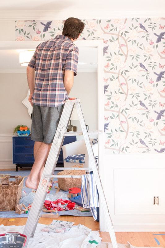 how to hang wallpaper around trim
