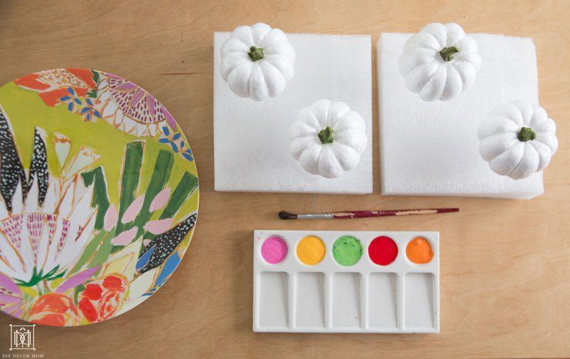 painted colorful pumpkins DIY tablescape fall decor ideas