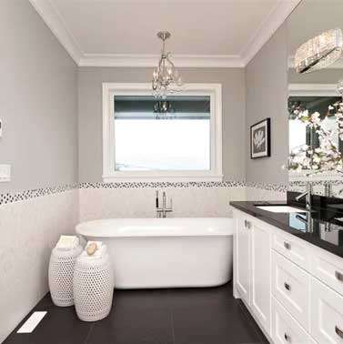 large tub in master bathroom painted revere pewter