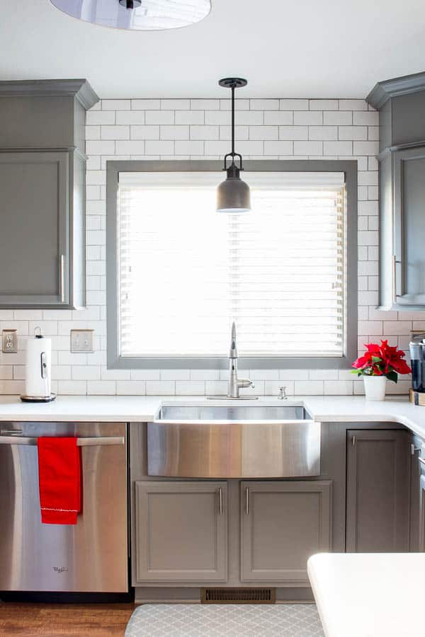 painted kitchen cabinets by inspiration for moms using bm advance paint in chelsea gray