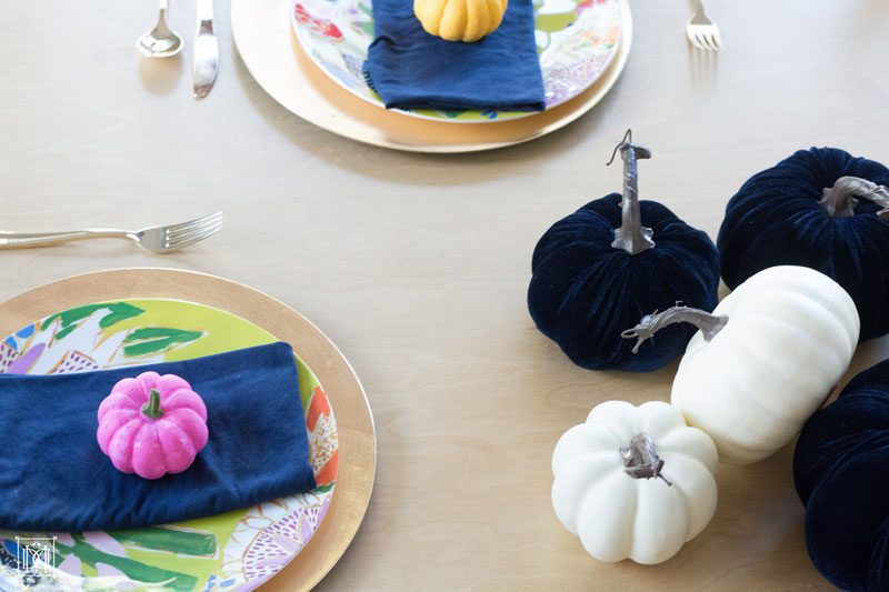multicolored painted pumpkins colorful pumpkin DIY tablescape