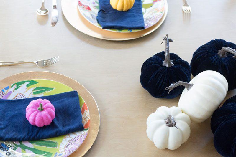 multicolored painted pumpkins colorful pumpkin DIY tablescape