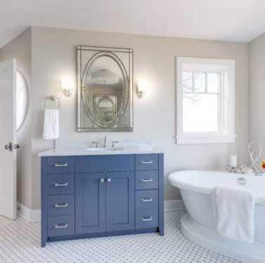 revere pewter bathroom with blue vanity
