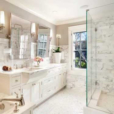 revere pewter bathroom with marble