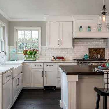 revere pewter kitchen with subway tile