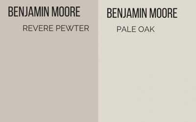 benjamin moore revere pewter vs. pale oak- greige paint colors