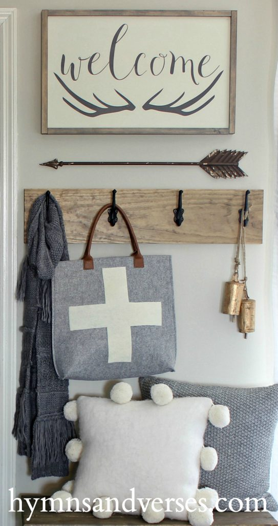 revere pewter benjamin moore walls in entryway by Hymns and Verses