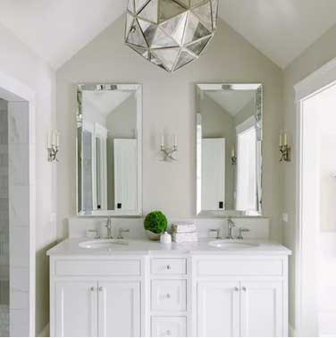 white and gray bathroom revere pewter benjamin moore