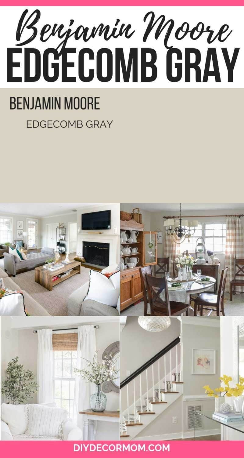 Benjamin Moore Edgecomb Gray living room, bedroom paint chips color scheme