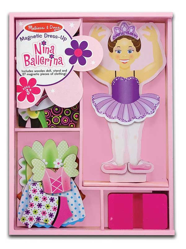 ballerina magnetic dress up wooden doll is a unique toy idea for 3 year old girls