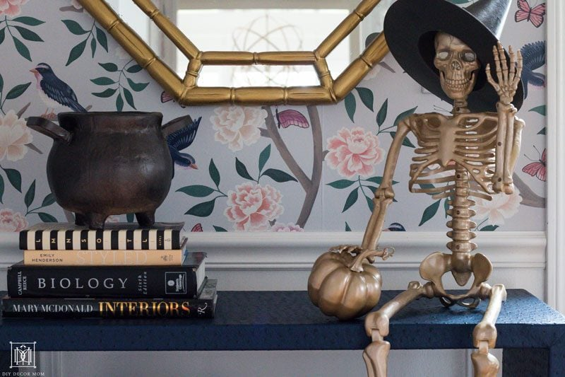 chic halloween decor with gold spraypainted skeleton