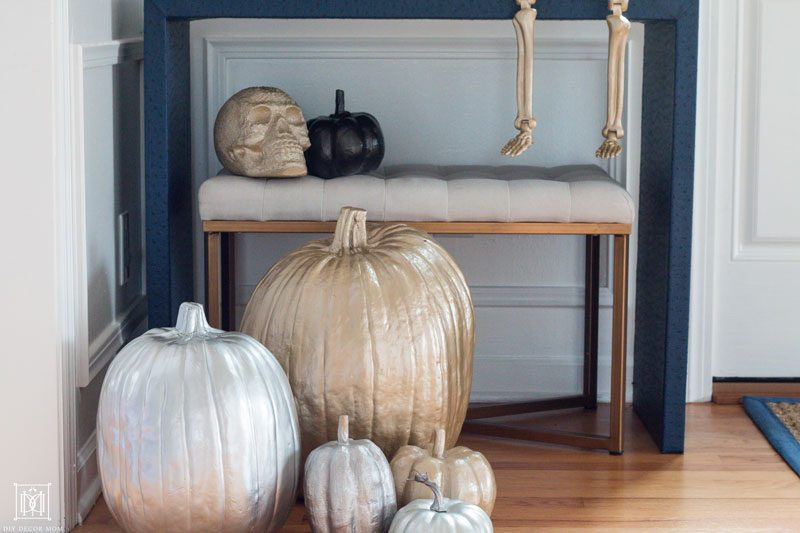 gold and silver spray painted pumpkins
