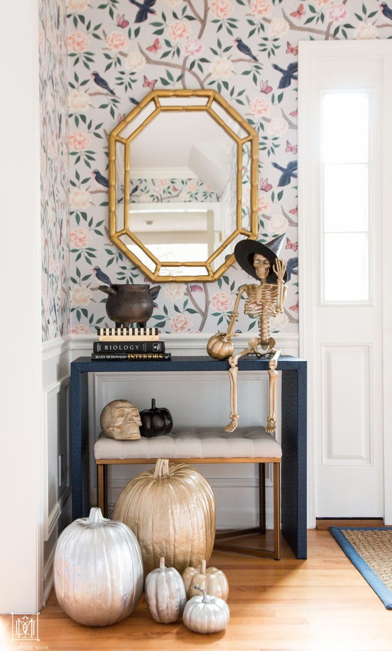 gold bamboo mirror with spraypainted halloween ideas with gold