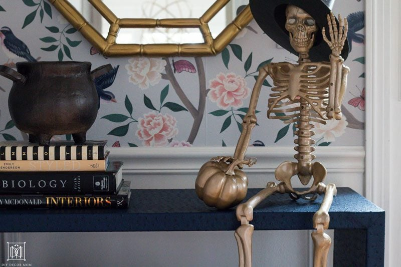 gold skeleton and gold halloween decor ideas
