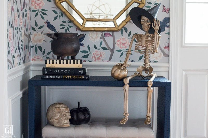 metallic spray painted halloween decor ideas