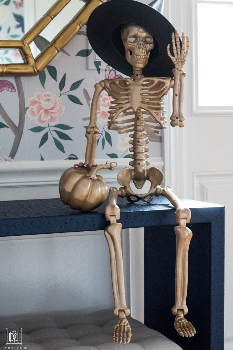 spooky gold skeleton glam halloween decor