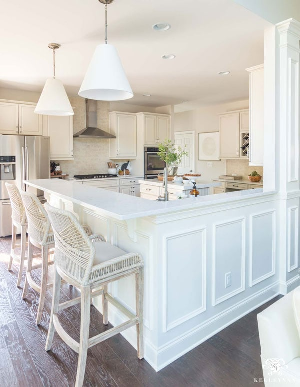 cream greige kitchen with HC-173 painted cabinets- kelley nan