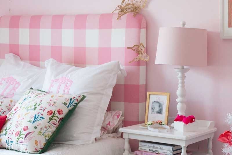 pink buffalo check headboard in pink room