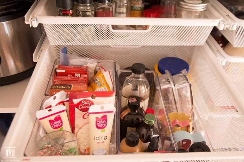 organized baking drawer in pantry