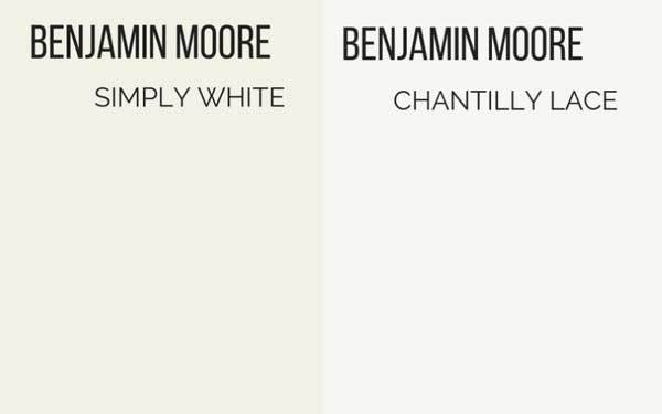 benjamin moore simply white vs chantilly lace