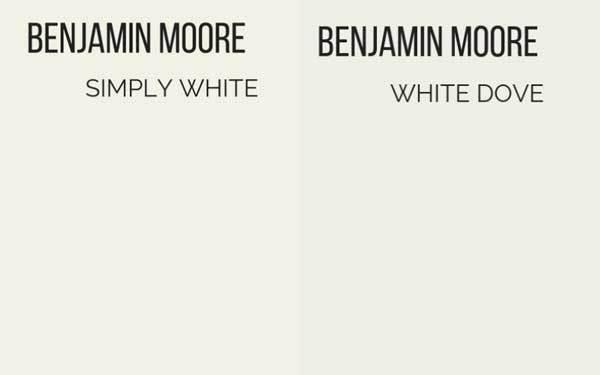 benjamin moore simply white vs white dove