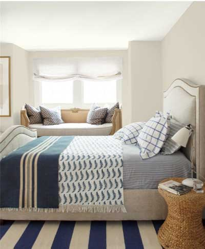 BM HC-173 light gray walls in bedroom with blue and white striped rug
