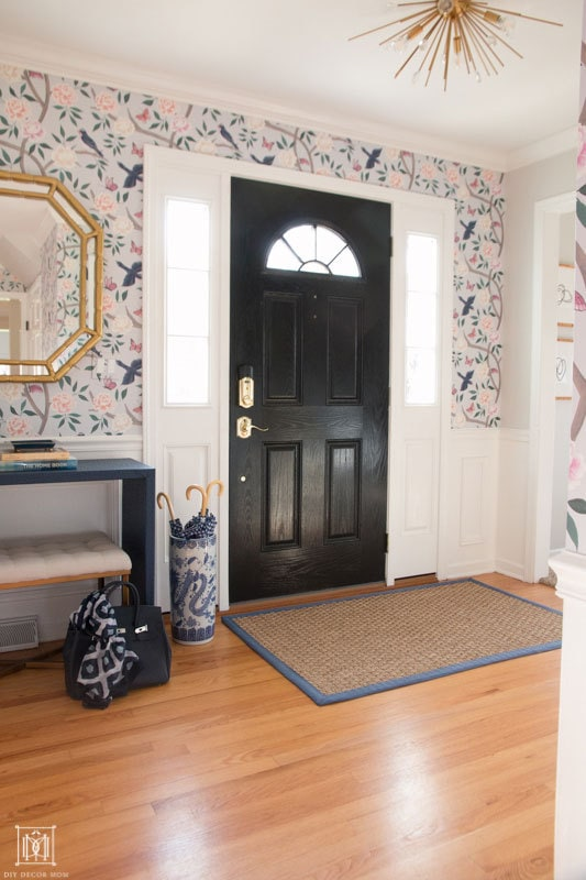 chinoiserie wallpaper in foyer