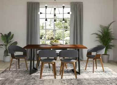 greige dining room with modern lights