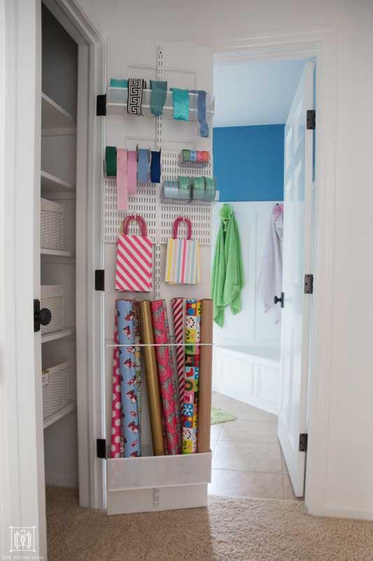 gift wrap organizer in linen closet