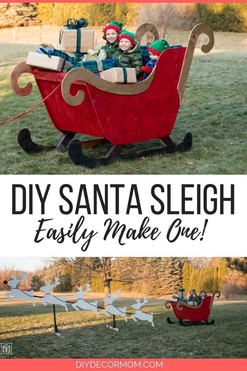 diy santa sleigh with reindeer exterior holiday decorations for outdoor decor