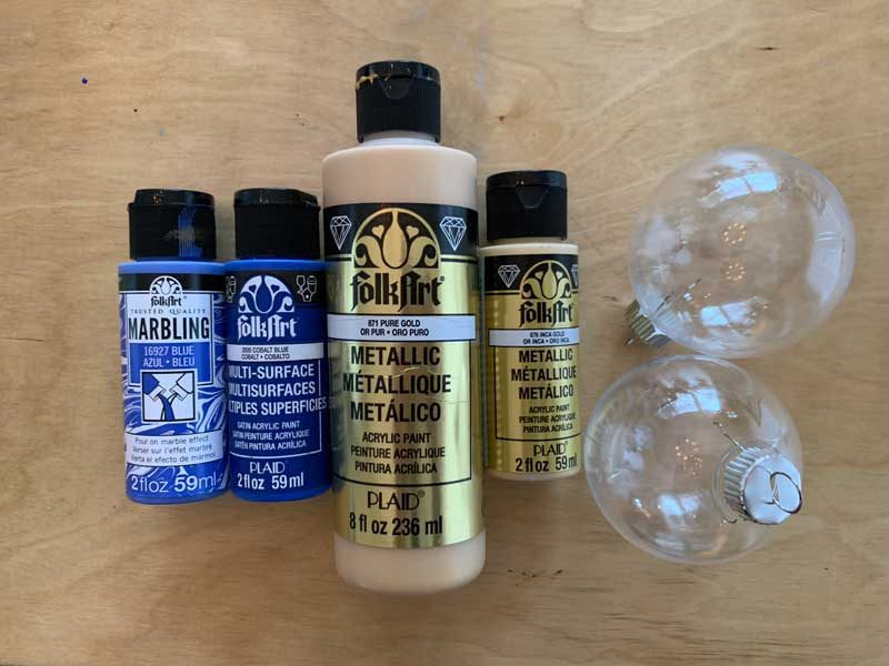 acrylic paints for diy marbled ornaments