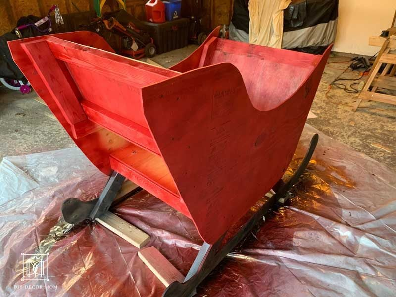 in progress diy santa sleigh
