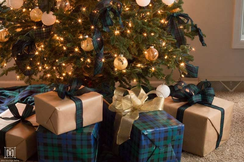 plaid gift wrap and christmas tree decorations