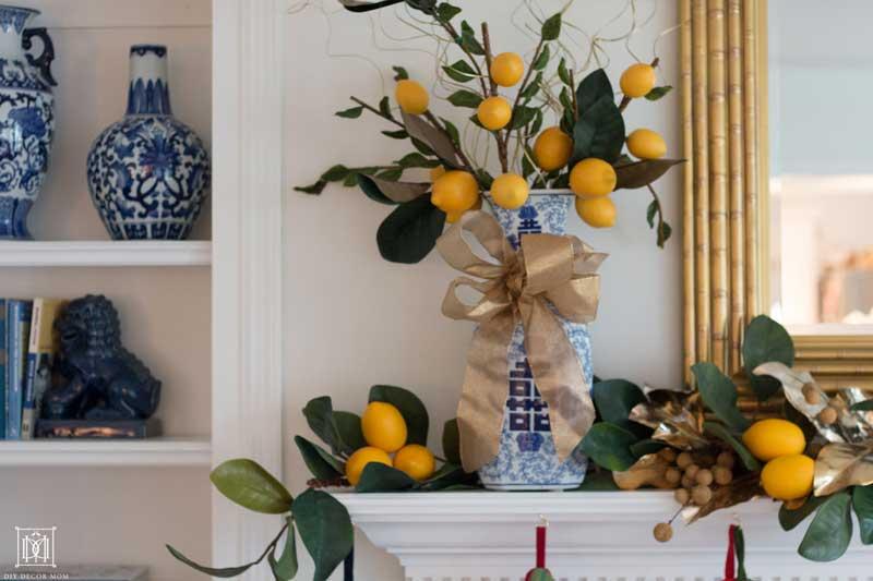 faux lemon citrus christmas decor