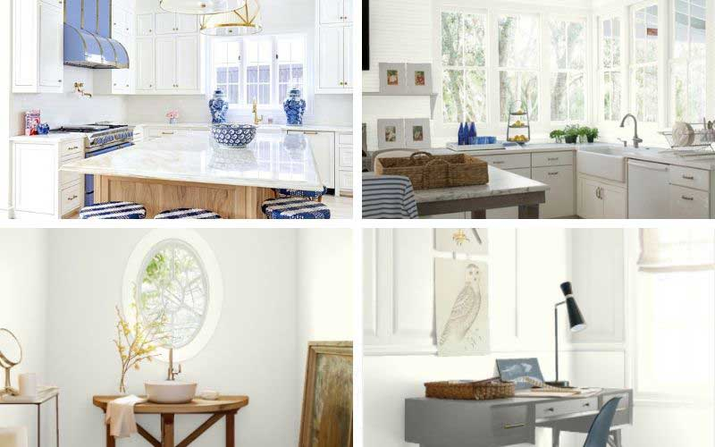 benjamin moore white dove painted walls in kitchen, living room, bathroom, and bedroom
