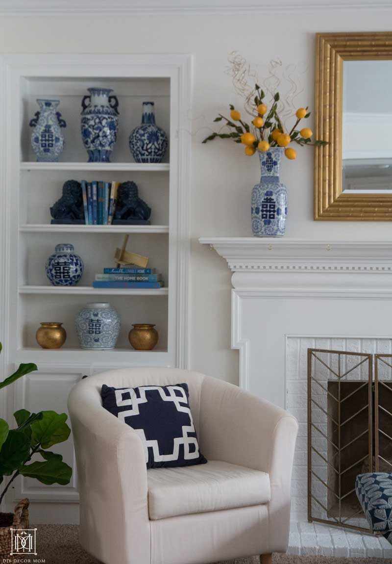 benjamin moore white dove walls and simply white trim on bookcase