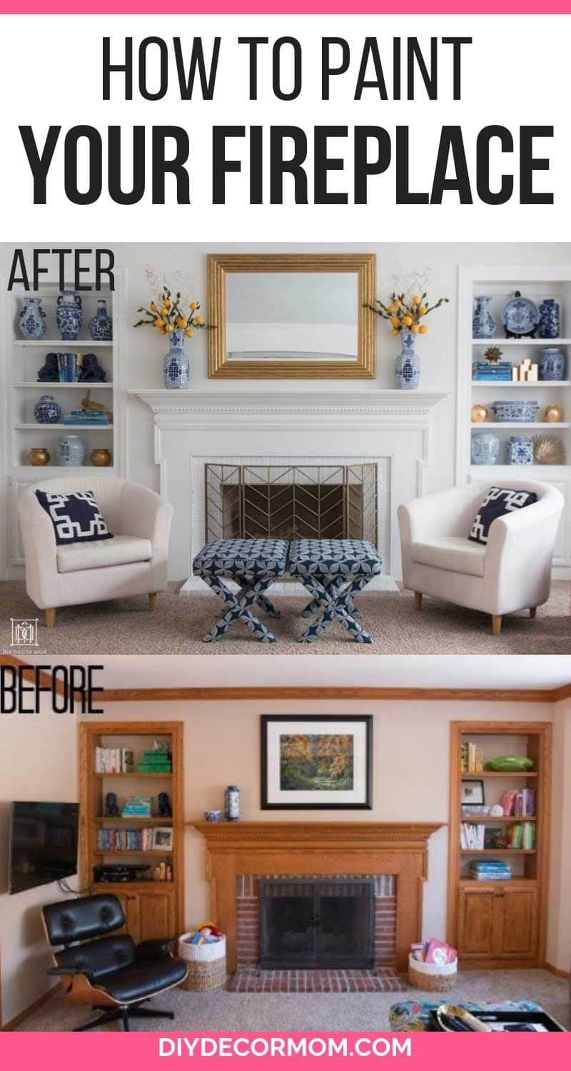 how to paint brick fireplace white