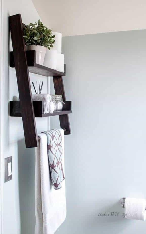 DIY Floating ladder shelf for bathroom by Anikas DIY Life